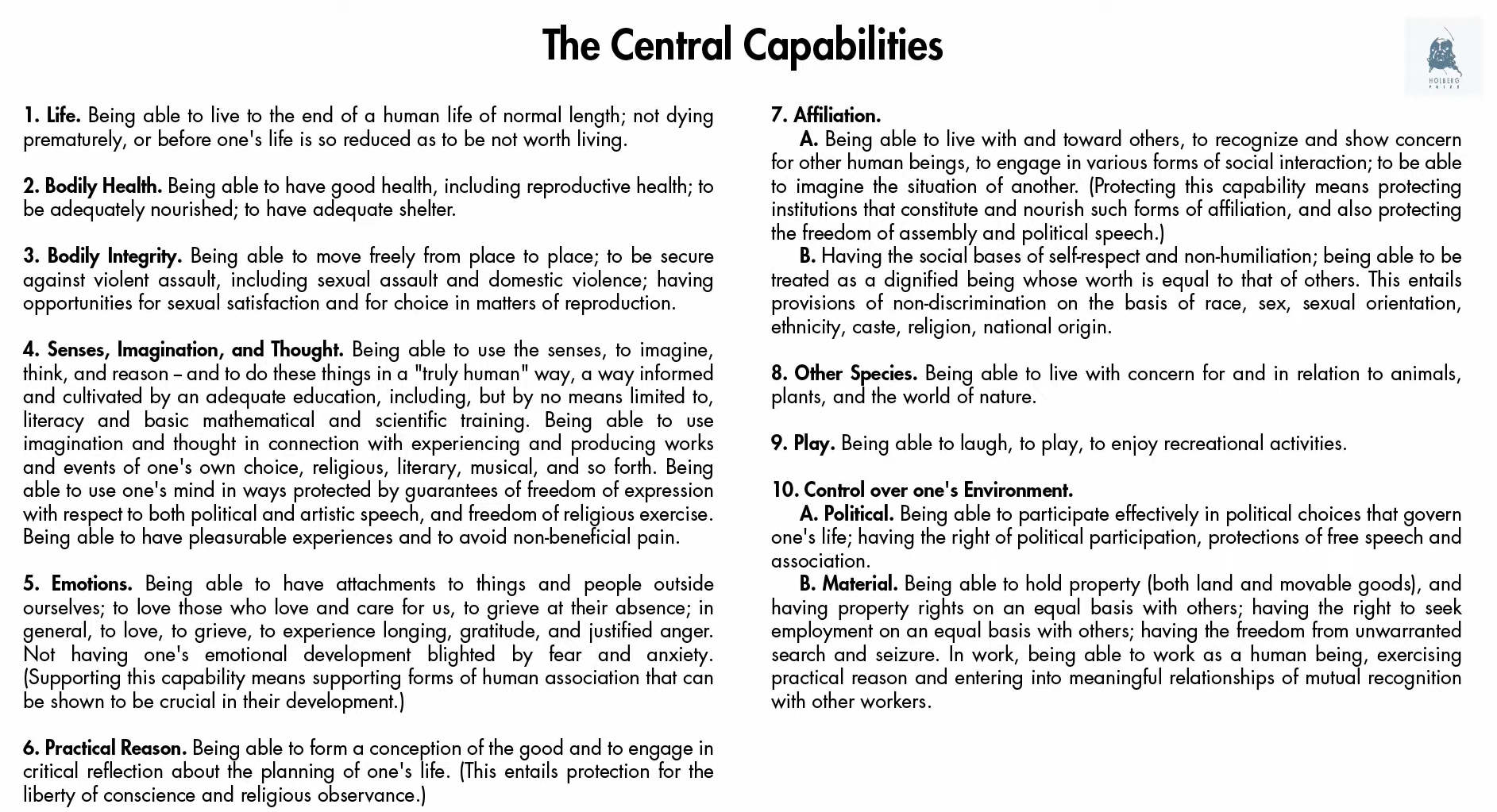 The Central Capabilities